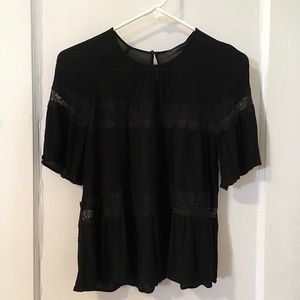 💕Zara Black Pleated Blouse w/2 Lace Panels S Sm